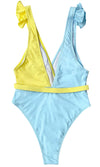 Malibu Vision Yellow Blue Sleeveless Ruffle Cross Wrap V Neck One Piece Swimsuit