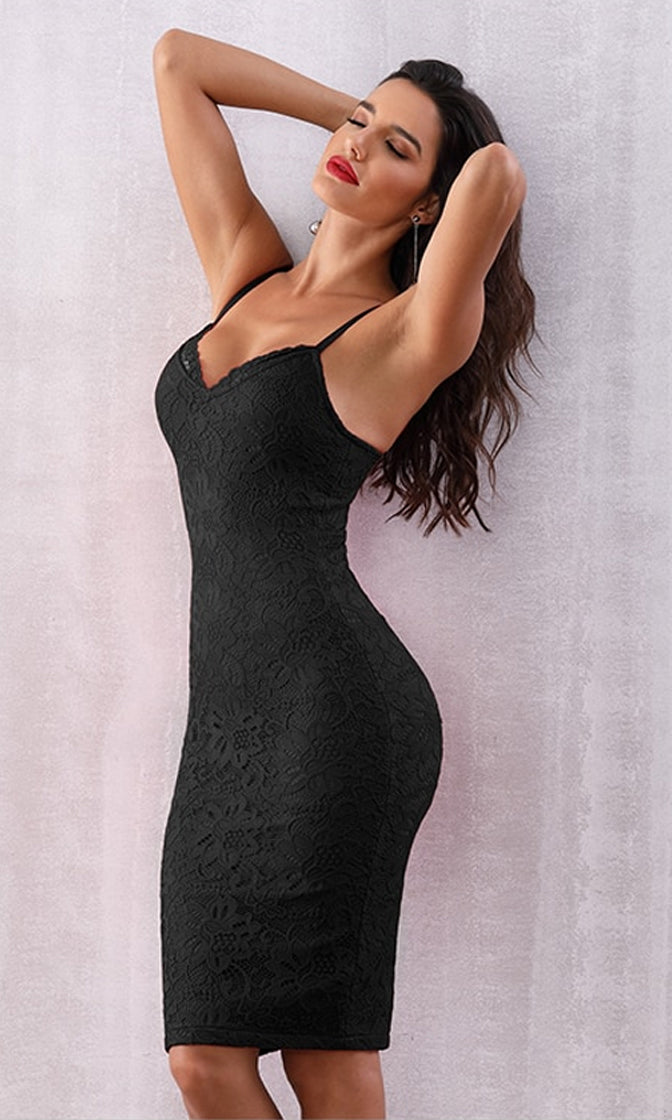 Calabasas Queen Black Lace Sleeveless Spaghetti Strap V Neck Bodycon Bandage Midi Dress