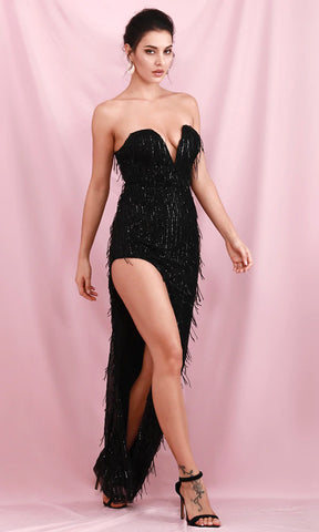 Starry Night Black Glitter Strapless Feather Bodycon Mermaid Maxi Dress