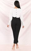 Urban Escape Black Tie Waist Loose Tapered Leg Pocket Trouser Pants