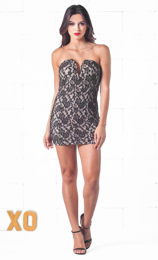Indie XO Lace Embrace Black Floral Lace Plunging Deep V Sleeveless Fitted Mini Dress - Just Ours!
