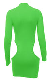 New Look Neon Green Long Sleeve Mock Neck Cut Out Hips Bodycon Mini Dress