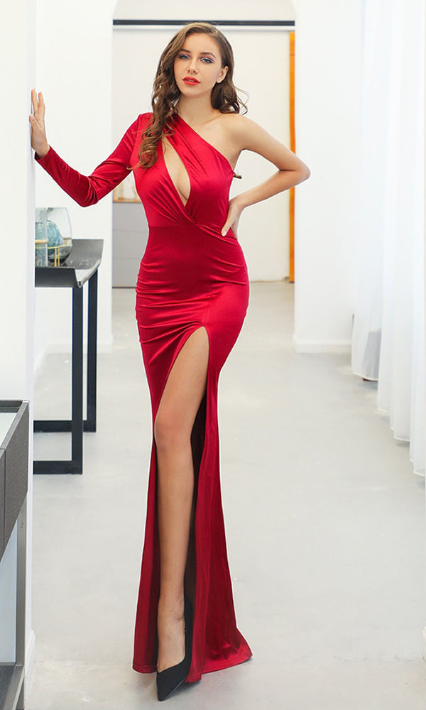 429acd9593f Million Dollar Baby Red One Shoulder Long Sleeve Cut Out Bust High Slit Maxi  Dress