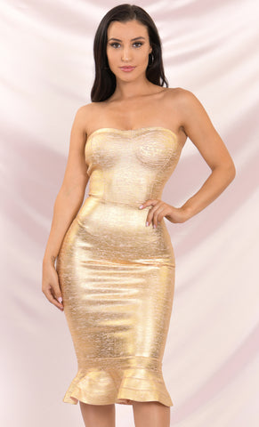 Lock It Down Rose Gold Sequin Long Sleeve Plunge V Neck Double Slit Jumpsuit