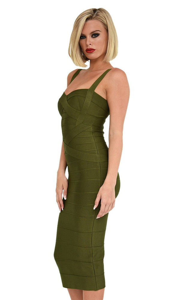 Under My Spell Olive Green Sleeveless V Neck Sexy Bandage Bodycon Midi Dress