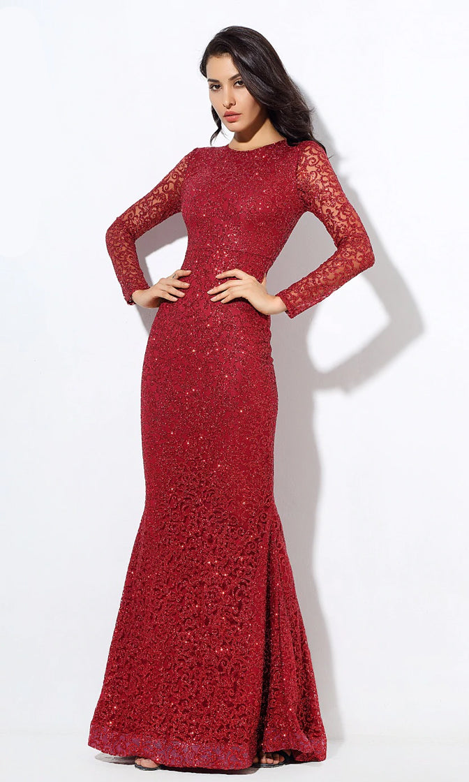 Lady In Red Deep Red Lace Glitter Long Sleeve Scoop Neck Fishtail Mermaid Maxi Dress Gown - Last One!