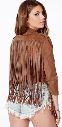 Retro Rocker Brown Faux Suede 3/4 Sleeve Fringe Zip Moto Jacket - Sold Out
