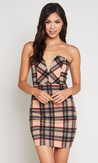 Checked Out Plaid Pattern Strapless V Neck Bodycon Casual Mini Dress - 2 Colors Available - Sold Out