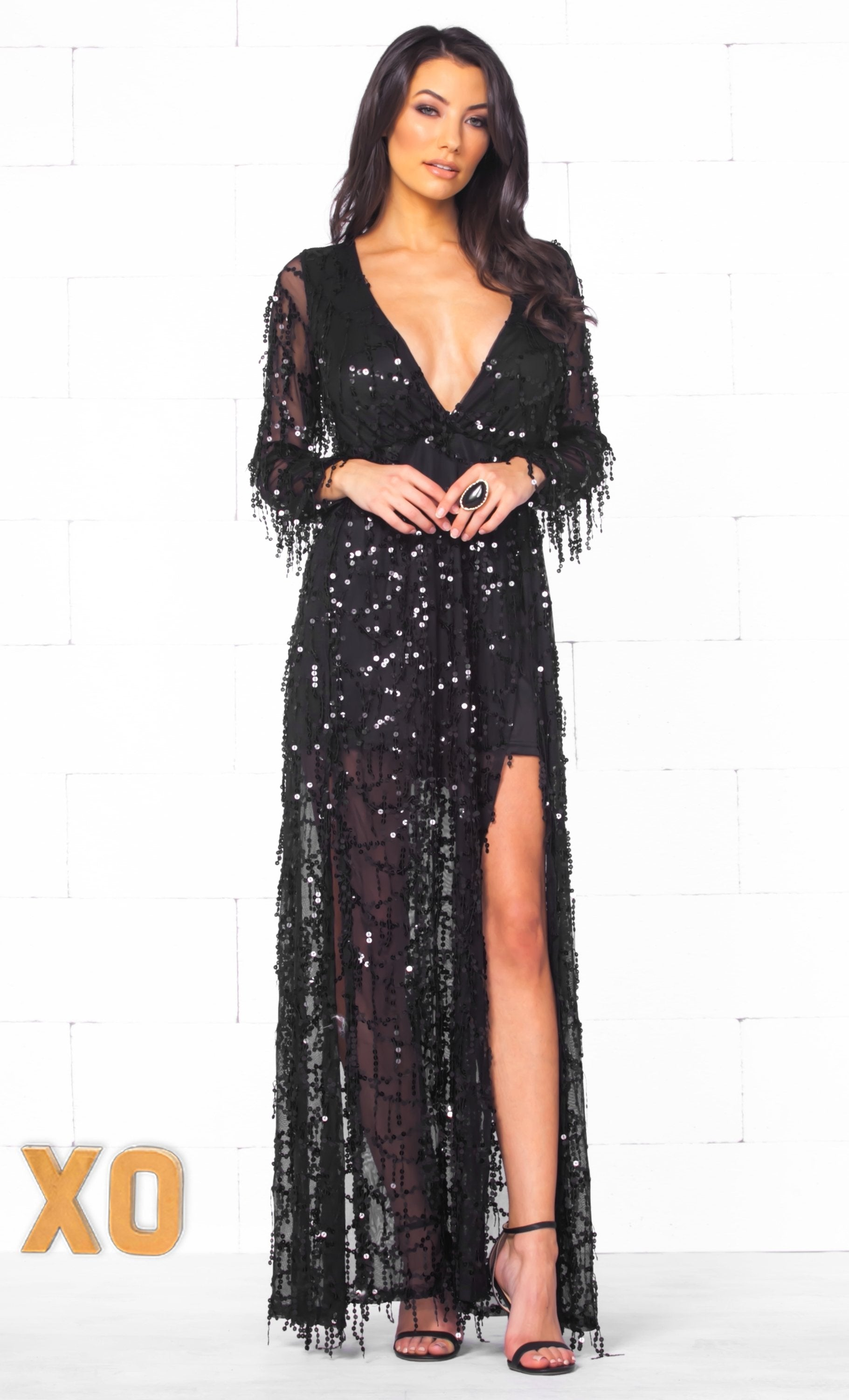 Indie XO More Than A Dream Black Sequin Fringe Long Sleeve Plunge V Ne