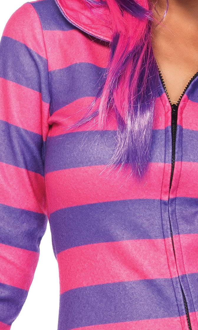 Cheshire Flirt Pink Purple Horizontal Stripe Pattern Fleece Long Sleeve Hood Zip Front Bodycon Mini Dress Halloween Costume