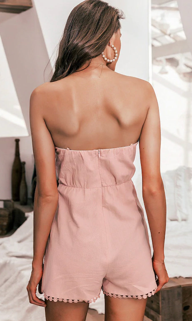 First Kiss Pink Strapless V Neck Embroidery Bow Cross Wrap Romper Playsuit