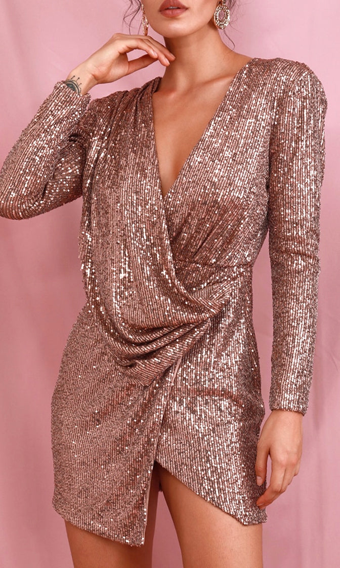 Once Is Never Enough Deep Brown Sequin Long Sleeve Cross Wrap V Neck Drape Bodycon Mini Dress