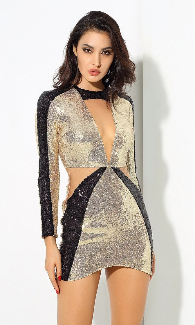 1c5c753c16 Future Love Gold Black Sequin Long Sleeve Plunge V Neck Cut Out Bodycon Mini  Dress -