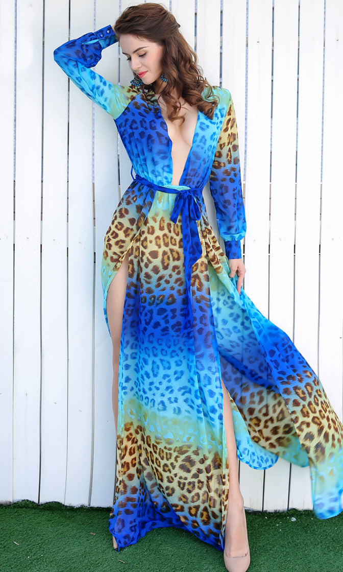 Wild At Heart Blue Leopard Stripe Pattern Long Sleeve Semi Sheer Plunge V Neck Double Slit Maxi Dress
