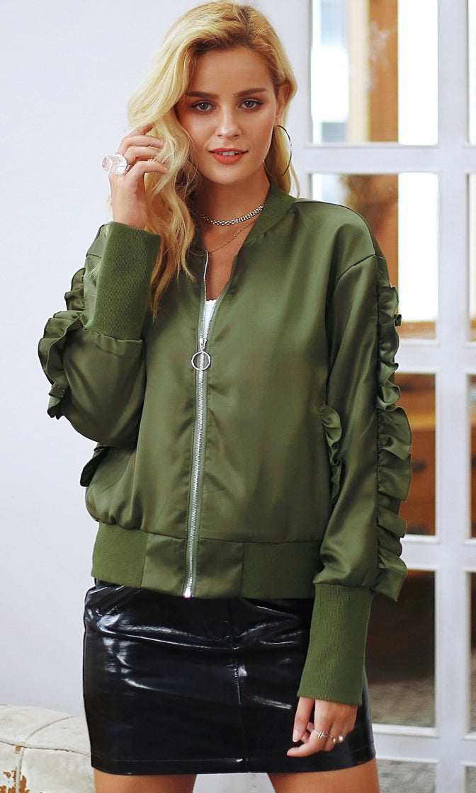 Dropping Bombs Satin Long Sleeve Ruffle Lace Up Zip Bomber Jacket - 2 Colors Available - Sold Out