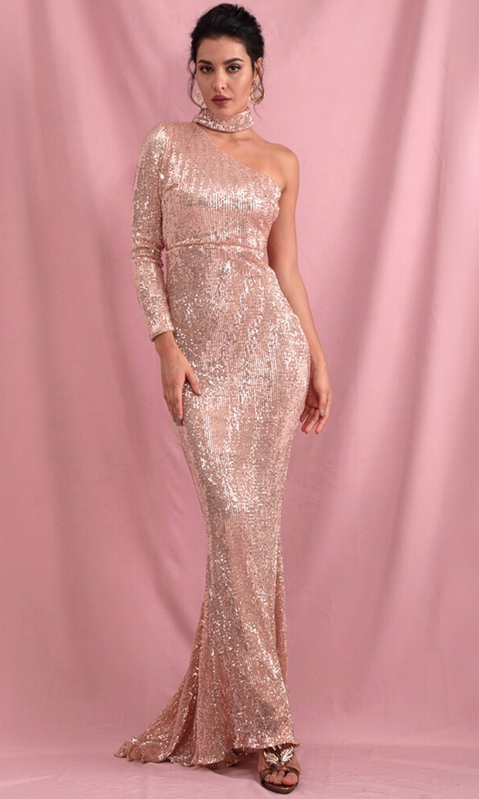 Because You Love Me Rose Gold Sequin Long Sleeve One Shoulder Mock Neck Bodycon Mermaid Maxi Dress