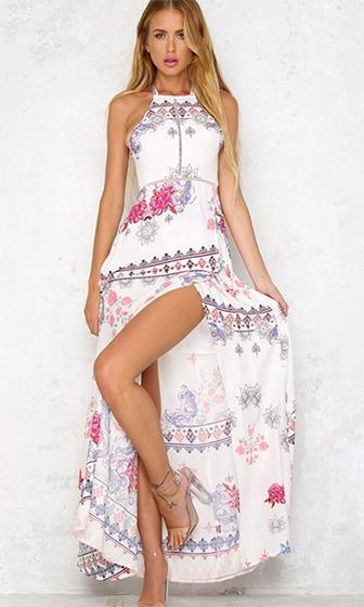Ray Of Sunshine White Pink Floral Sleeveless Halter Cut Out Tie Back Casual Maxi Dress