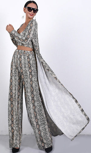 Real Renegade Beige Snake Pattern Sleeveless Scoop Neck Crop Top Loose Wide Leg Pant Maxi Cardigan Three Piece Set