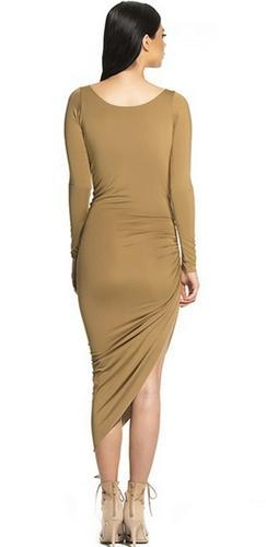 Meet At Midnight Caramel Brown Long Sleeve Drape Cowl V Neck Ruched Asymmetric Mini Midi Bodycon Dress - Sold Out