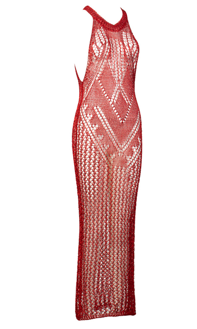 No Filter Red Sheer Crochet Lace Sleeveless Scoop Neck Bodycon Maxi Dress