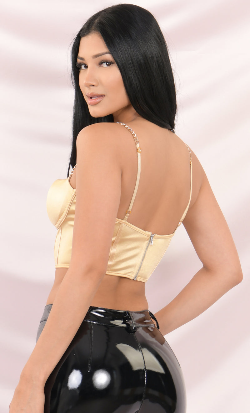Take It Off White Satin Sleeveless Chain Strap Padded Bustier Crop Tank Top - 5 Colors Available