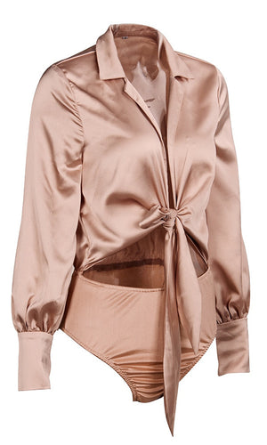 Champagne On Ice Light Brown Satin Long Sleeve V Neck Bow Cut Out Waist Bodysuit Top - Sold Out