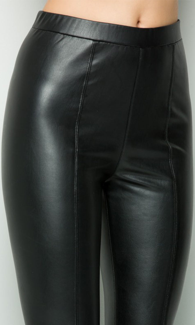 Drop The Mic Black Faux Leather Wide Waist Skinny Leggings