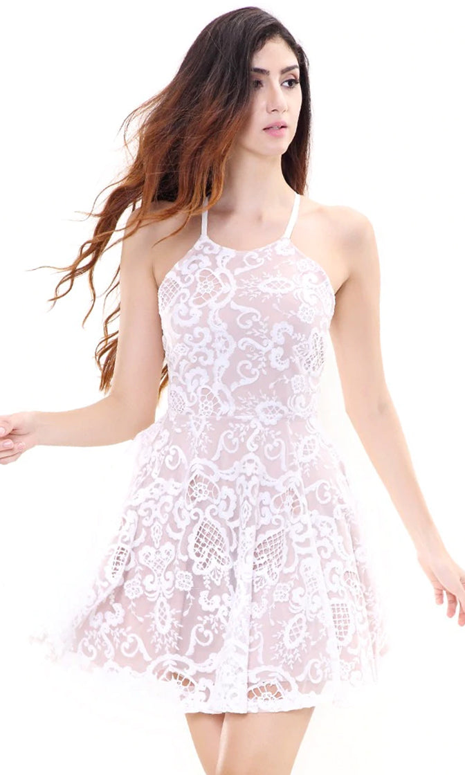 Angel In Heaven White Beige Puff Lace Spaghetti Strap Sleeveless Halter Skater Circle A Line Flare Mini Casual Dress