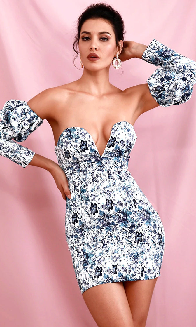 Follow The Sun White Blue Floral Pattern Detachable Long Puff Sleeve Plunge Sweetheart Neck Bodycon Mini Dress