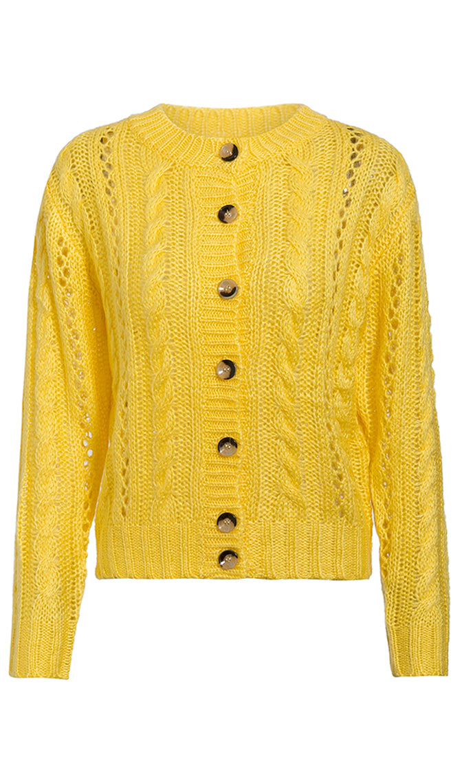 Warming Things Up Long Sleeve Cable Round Neck Button Cardigan Sweater - 3 Colors Available