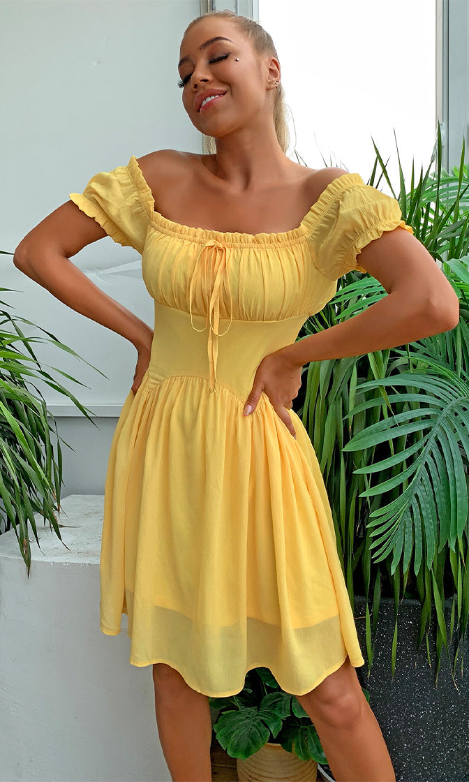 Lemon Meringue Yellow Short Puff Sleeve Square Neck Flare A Line Casual Mini Dress