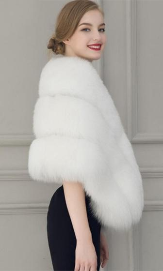 Freeze Frame White Faux Fur Shawl with Closure Wrap