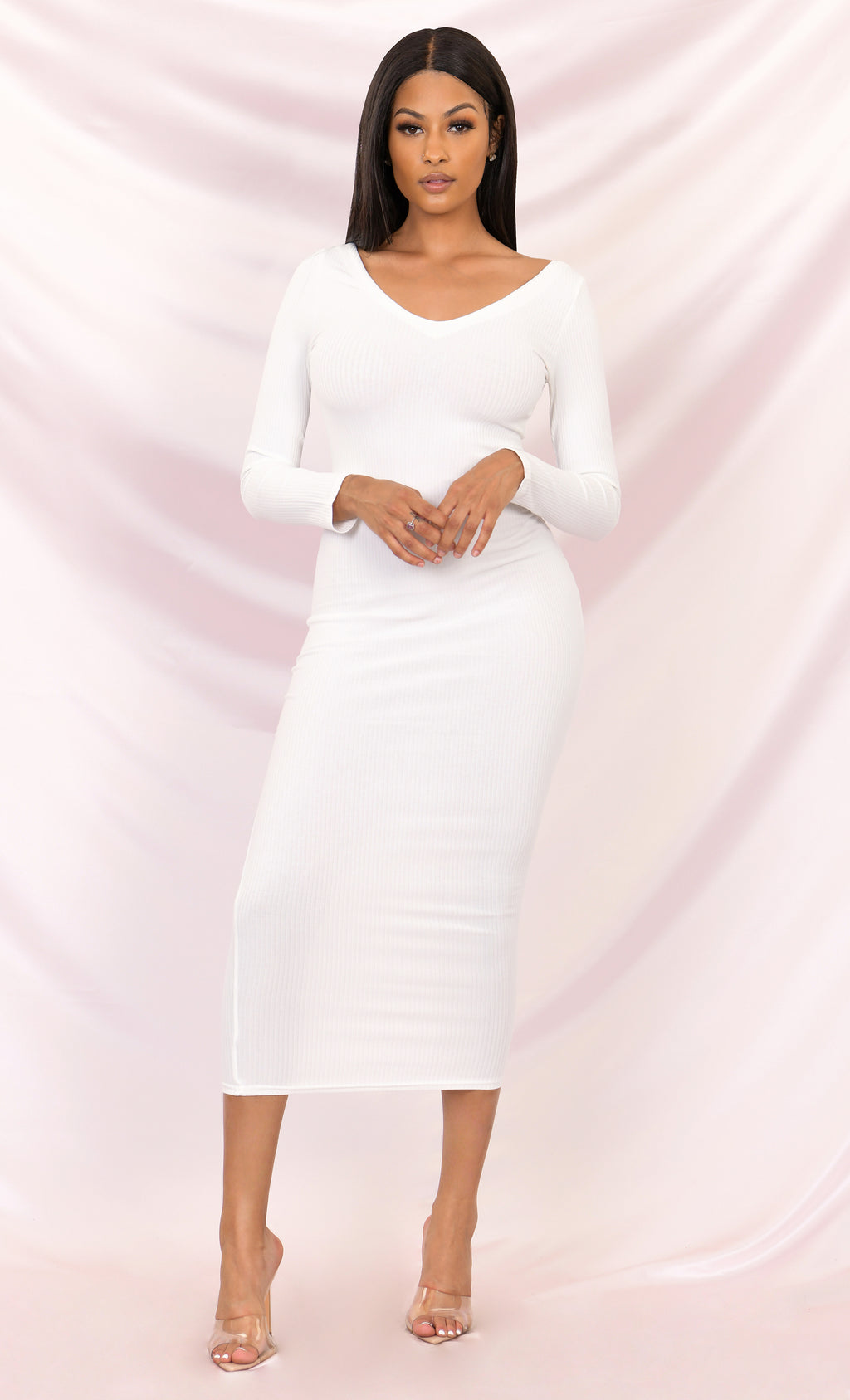 On The Radio White Long Sleeve Ribbed V Neck Bodycon Midi Dress