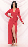 Intoxicating Glamour Red Black Sequin Glitter Long Sleeve Cross Wrap Plunge V Neck Split Maxi Dress