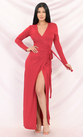 Mysterious Lover Red Satin Draped Off The Shoulder Short Sleeve Scoop Neck Cross Wrap Midi Dress