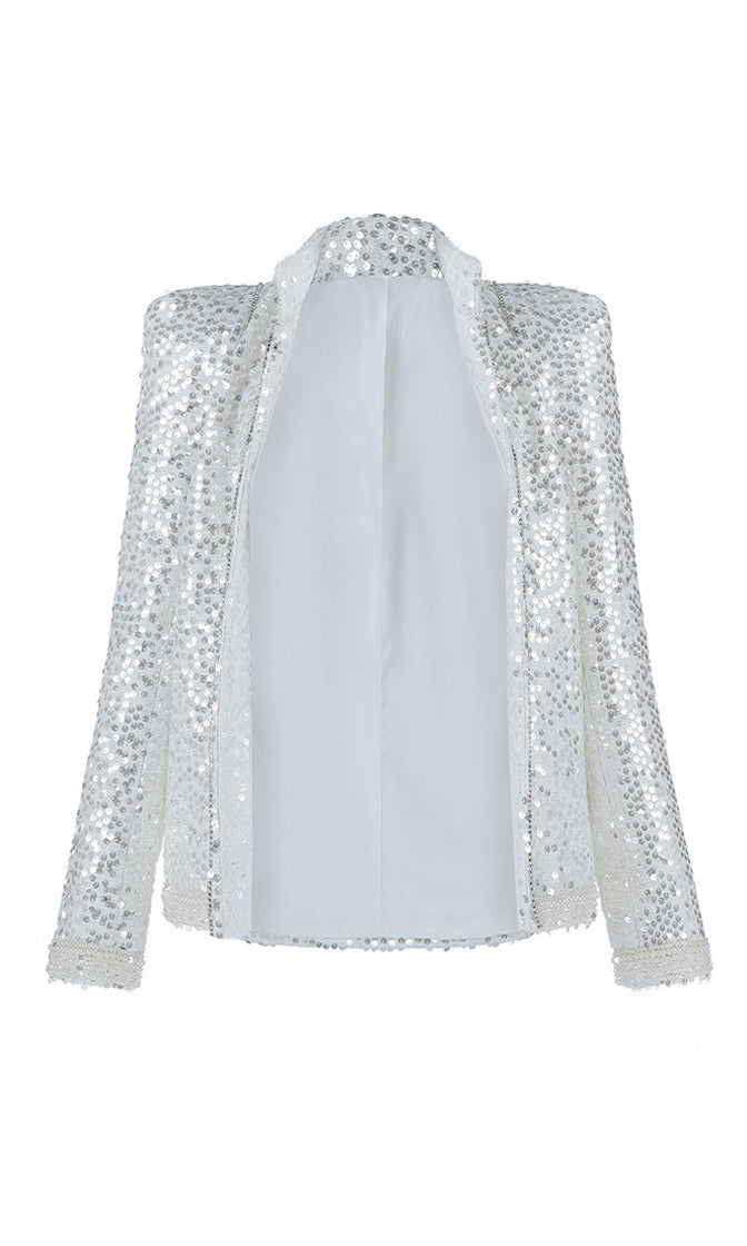 All That Jazz White Sequin Rhinestone Long Sleeve Open Front Strong Shoulder Jacket Outerwear