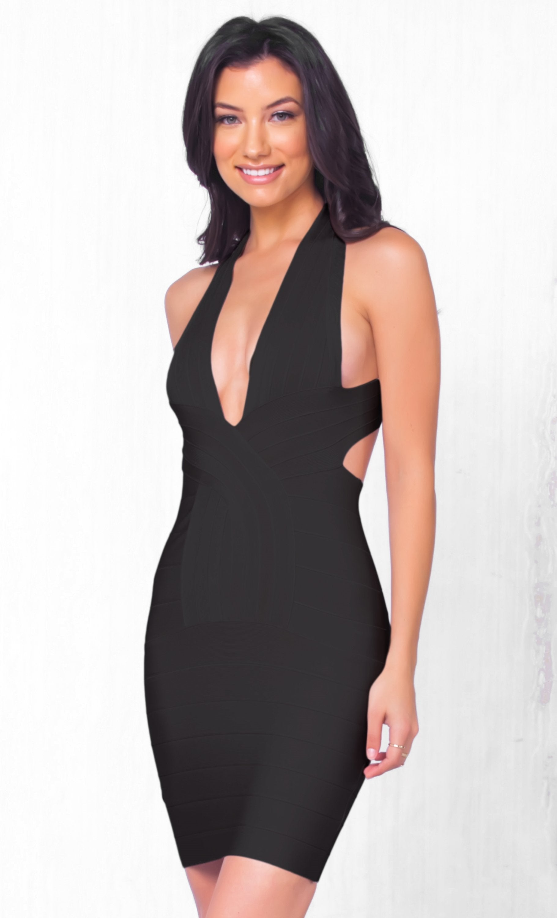 Indie XO She's A Catch Sleeveless Black Plunging Deep V Neck Cross Back Body Con Bandage Fitted Mini Dress
