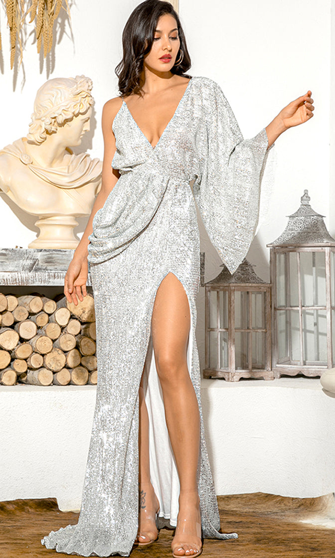 Kiss Me Now Silver Sequin Asymmetric One Long Kimono Sleeve Drape Backless Cross Wrap V Neck Split Maxi Dress