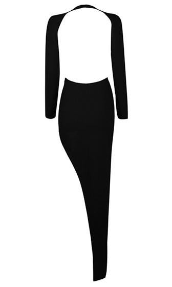 Object Of Envy Black Long Sleeve Plunge V Neck Cut Out Side Wrap Mini Maxi Bodycon Bandage Dress - Sold Out