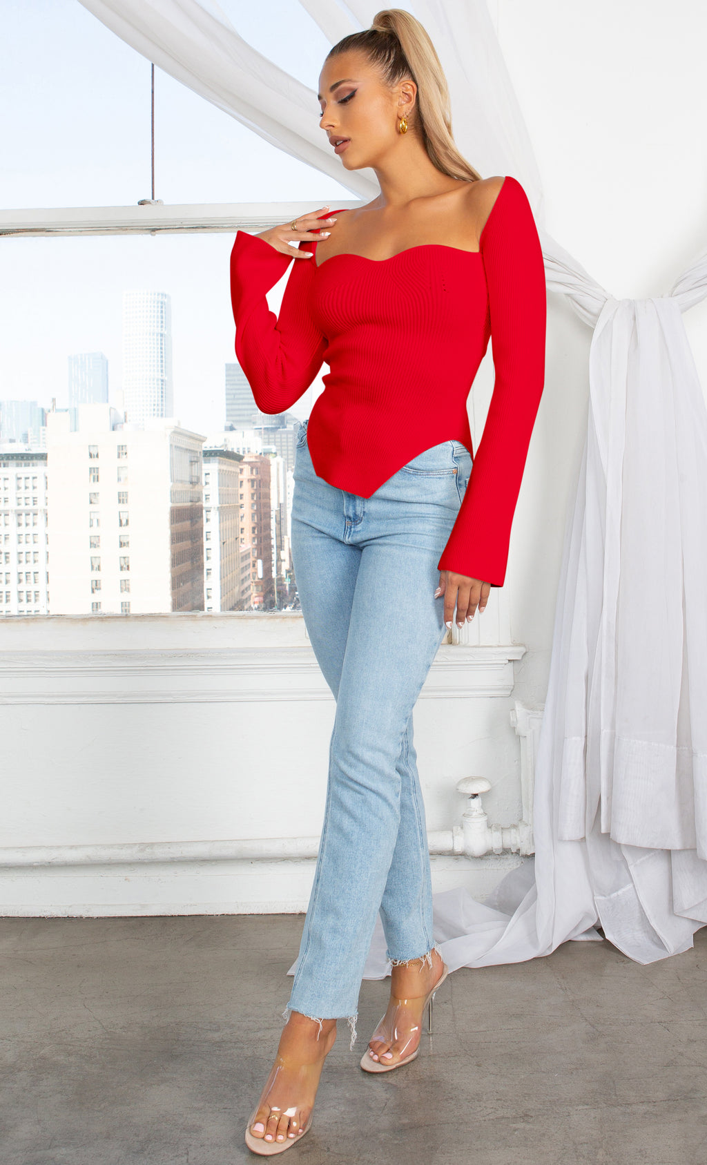 Parisian Soul Red Ribbed Long Sleeve Stretchy Bustier Sweetheart Neckline Cut Out Hem Pullover Sweater Knit Top