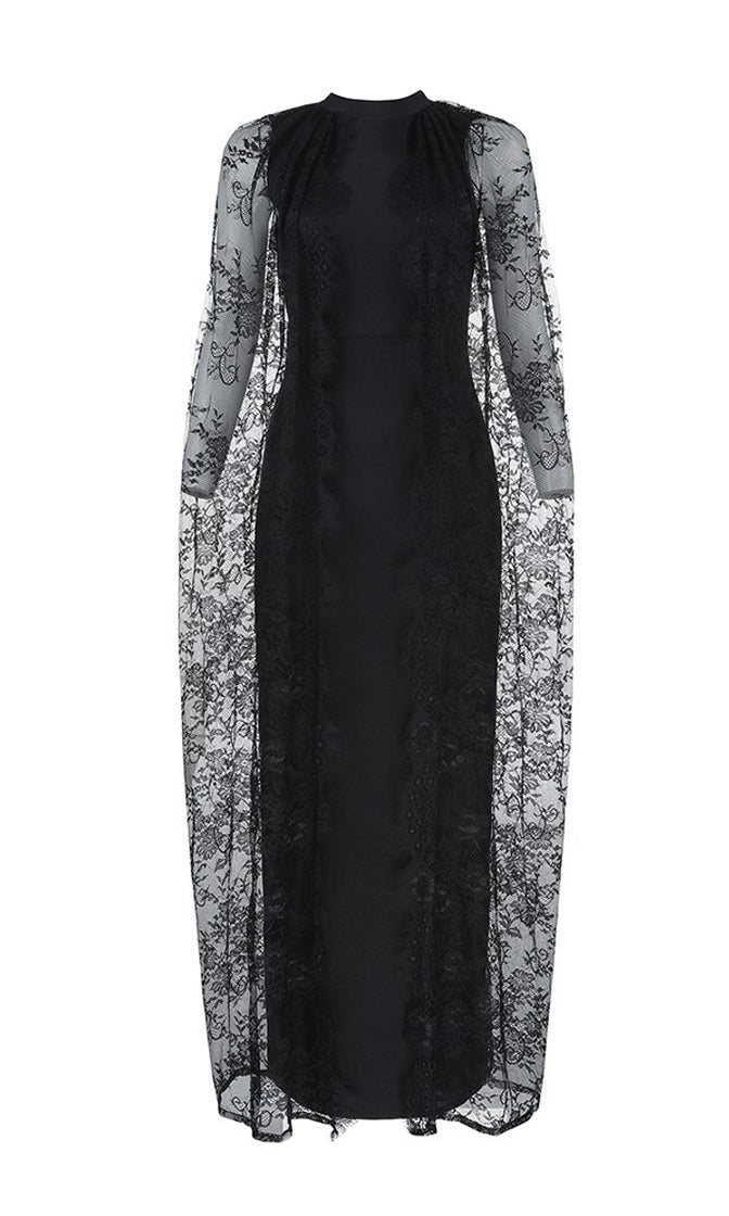 Camera Ready Black Sheer Lace Extra Long Sleeves Round Neck Bandage Bodycon Maxi Dress