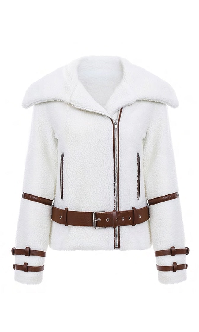 My Pleasure White Faux Fur Long Sleeve Faux Leather Straps Asymmetric Zip Moto Coat Outerwear