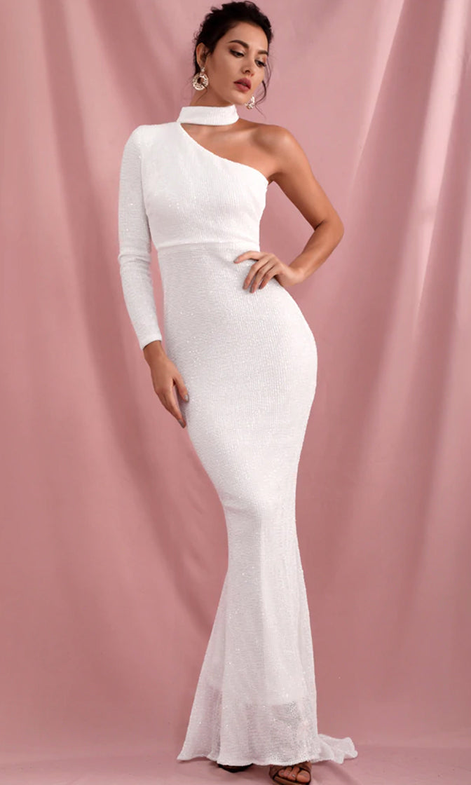 Because You Love Me White Sequin Long Sleeve One Shoulder Mock Neck Bodycon Mermaid Maxi Dress