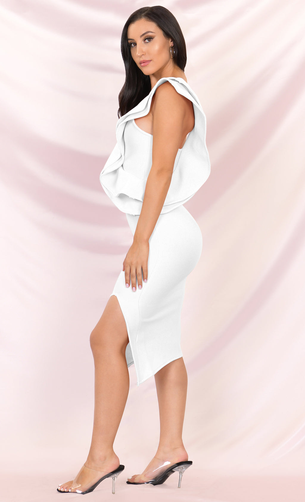 Prize Winner White Sleeveless Bandage One Shoulder Ruffle Bodycon Side Slit Midi Dress
