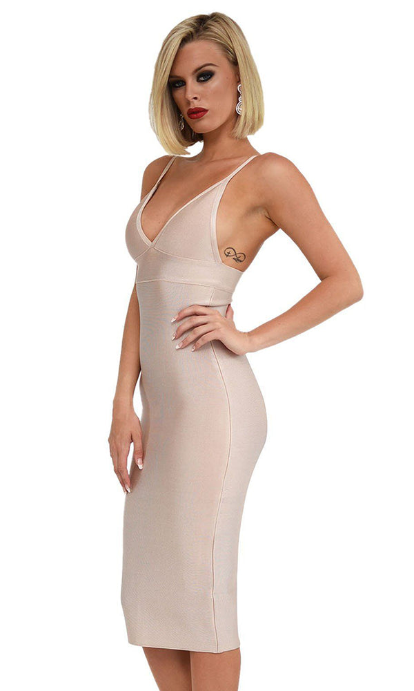 Will You Be Mine Nude Sleeveless Spaghetti Strap V Neck Bandage Bodycon Midi Dress