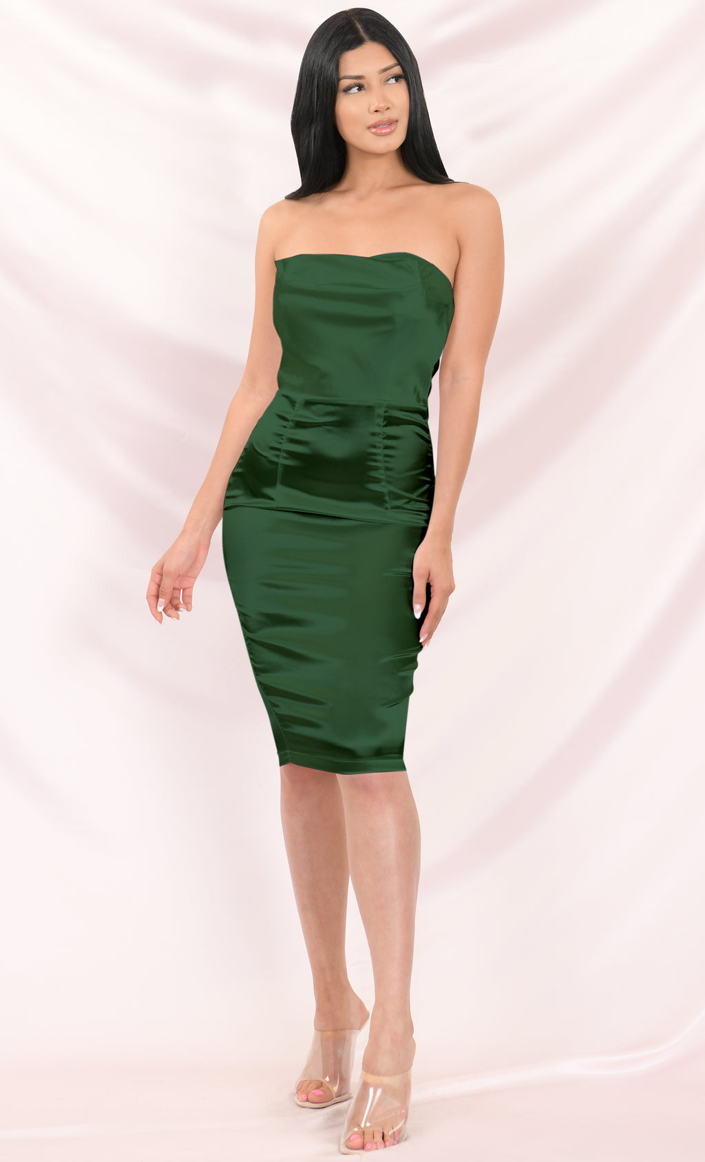 One More Night Emerald Green Satin Strapless Draped Sweetheart Neck Bodycon Midi Dress - 3 Colors Available