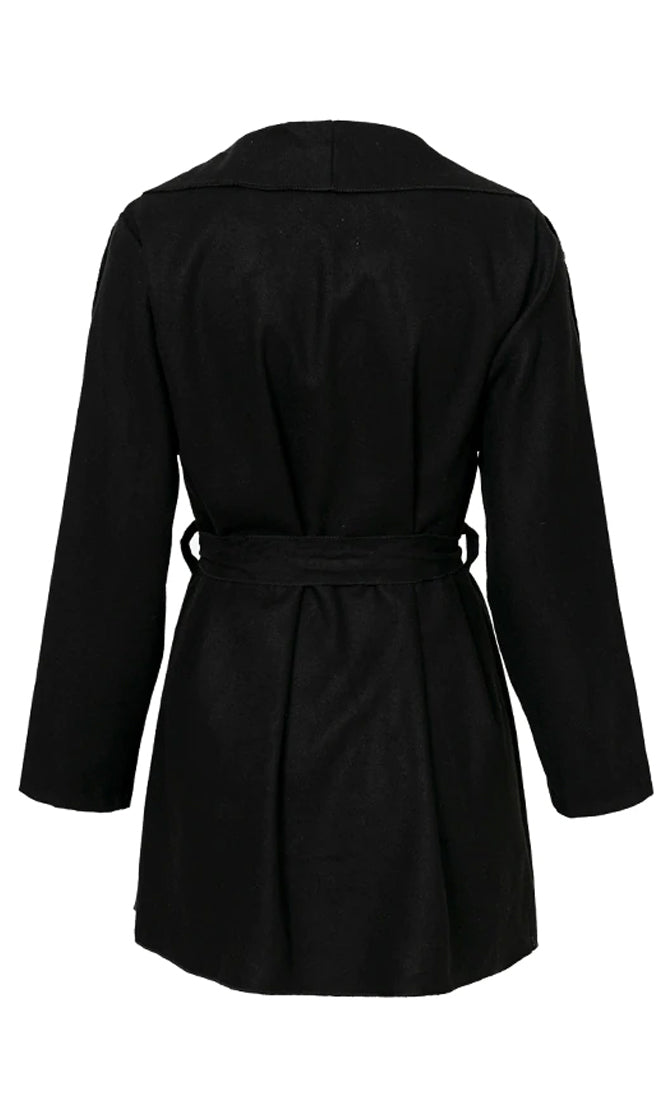 Covert Operation Long Sleeve Wide Lapel Tie Belt Wrap Coat Outerwear - 3 Colors Available