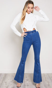 Truth Or Flare Elastic Waist Denim Flare Bell Bottom Jeans - 2 Colors Available - Sold Out