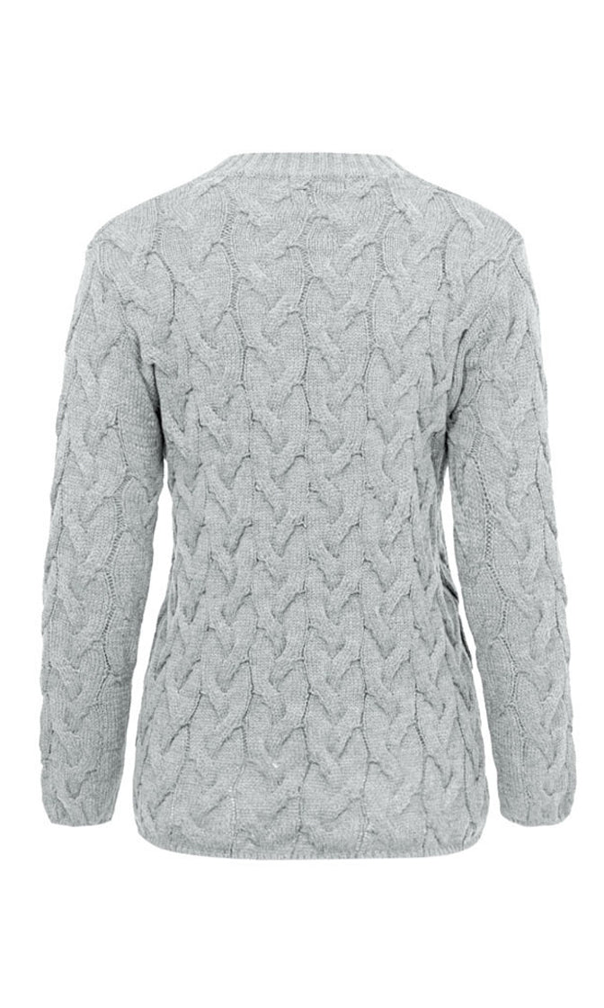Comfortably Numb Cable Knit Long Sleeve Crew Neck Pullover Sweater - 6 Colors Available - Sold Out