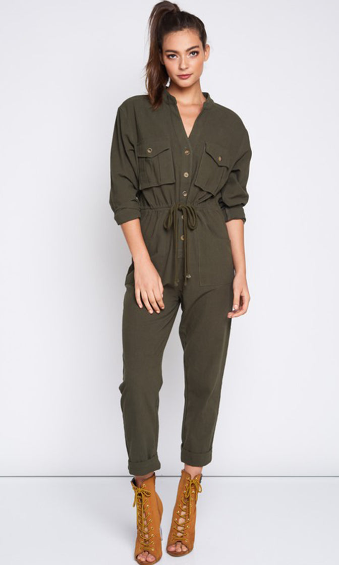 Claiming Attention Olive Green Long Sleeve Button Drawstring Waist Loose Jumpsuit